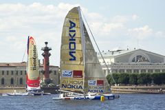 Nokia Oops Cup. St. Petersburg City Race, 2005. Nokia Oops Cup is a sail racing competition for Formula 60 trimarans. St. Petersburg City Race, Neva River Stock Photo