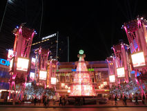 Nokia Plaza with Pink Christmas tree and people walking Royalty Free Stock Photography