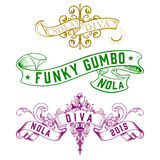 NOLA Diva Funky Gumbo New Orleans Designs Royalty Free Stock Photos