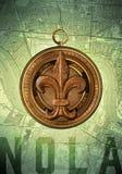 NOLA New Orleans Louisiana Compass Royalty-vrije Stock Afbeeldingen