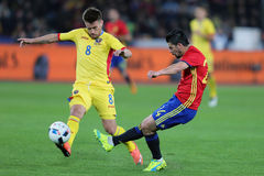 Nolito passing the ball. Manuel Agudo Duran Nolito winger of the Spanish National Football Team, pictured during the friendly match between Romania and Spain royalty free stock image