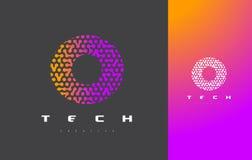 Nolla-bokstav Logo Technology FörbindelseDots Letter Design Vector Royaltyfri Bild