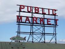 Nolla för tecken för neon för marknad för fisk för marke och för stad för pikställe offentlig överst Arkivbild