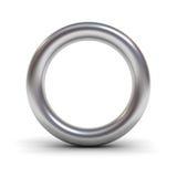 Nolla för metallalfabetbokstav eller silvercirkel Arkivfoton