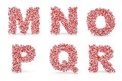 NOLLA P Q R för Pillsalfabet M N Arkivbilder
