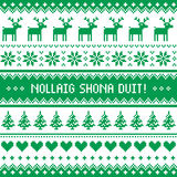 Nollaig Shona Duit - Merry Christmas in Irish pattern, greetings card Royalty Free Stock Photo