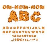 Nom ABC de nom de l'OM Police de biscuits Biscuits avec du chocolat Photo libre de droits