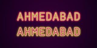 Nom au néon de ville d'Ahmedabad dans l'Inde Illustration de Vecteur