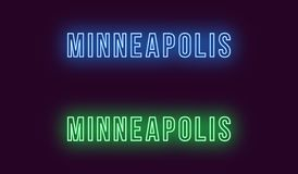Nom au néon de ville de Minneapolis aux Etats-Unis Texte de vecteur illustration stock