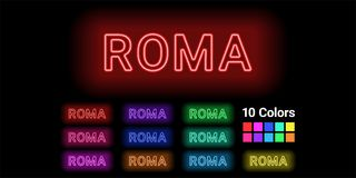 Nom au néon de ville de Roma illustration libre de droits