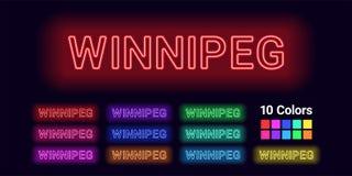 Nom au néon de ville de Winnipeg illustration libre de droits
