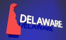 Nom de carte du Delaware DE Red State Photos stock