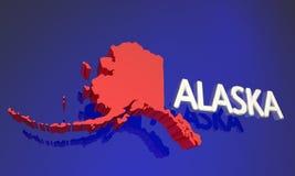 Nom de carte rouge d'état de l'Alaska AK Photographie stock