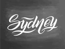 Nom de ville écrit par main Calligraphie de lettrage de main sydney Lettrage fabriqué à la main, illustration de vecteur tableau Photos libres de droits
