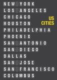 Nom des villes des USA sur l'aéroport Flip Board Images libres de droits
