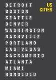 Nom des villes des USA sur l'aéroport Flip Board Image stock