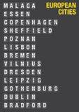 Nom des villes européennes sur l'aéroport Flip Board Image stock