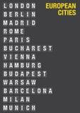 Nom des villes européennes sur l'aéroport Flip Board Images stock