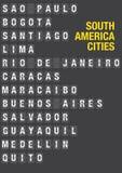 Nom des villes sud-américaines sur l'aéroport Flip Board Photos libres de droits