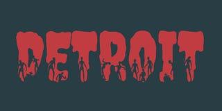 Nom et silhouettes de ville de Detroit sur eux illustration stock