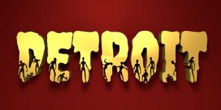 Nom et silhouettes de ville de Detroit sur eux Photo libre de droits