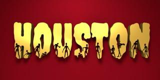 Nom et silhouettes de ville de Houston sur eux Photos libres de droits