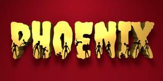 Nom et silhouettes de ville de Phoenix sur eux Photo stock