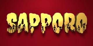 Nom et silhouettes de ville de Sapporo sur eux Photo stock
