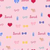 Nom sans couture Sarah de modèle de fond du nouveau-né Bébé Sarah de nom Nom sans couture Sarah Vecteur de Sarah Photographie stock libre de droits