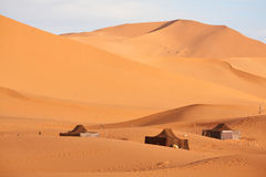 The nomad (Berber) tents. In the Sahara, Morocco Royalty Free Stock Photo