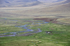 Nomad camp in the Chuya steppe, Altai Mountains Stock Image