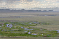 Nomad camp in the Chuya steppe, Altai Mountains Stock Photos