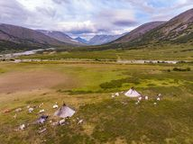 Nomad herding camp in the summer, Yamal, Russia. Aerial view stock photos