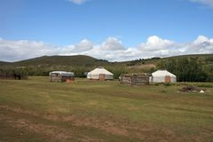 Nomad home in Mongolia. Picture of a Gerr, traditional homes of nomads in Mongolia stock photography