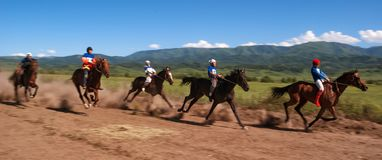 Nomad horse riding competition Royalty Free Stock Photography