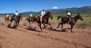 Nomad horse riding competition Stock Photo