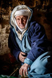 Nomad man living in the cave, Nomad Valley, Atlas Mountains, Morocco Stock Photo