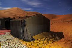 Nomad tent camp at night for tourist in Erg Chebbi desert, Moroc. Co, Africa Royalty Free Stock Photos