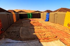 Nomad tent camp for tourist in Erg Chebbi desert, Morocco. Africa Royalty Free Stock Photos