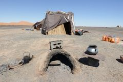 Nomad tent in the Moroccan desert. With solar panel Stock Photos