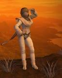 Nomad woman on a Desert Mountain Royalty Free Stock Photos