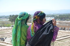 Nomad women in historical place. Two Qashqaie nomads in Perspolis historical site Royalty Free Stock Photo