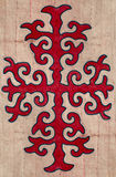 Nomad yurt detail - kyrgyz pattern on felt Stock Photos