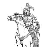 Nomade di Khan Mongolian a cavallo Fotografia Stock Libera da Diritti