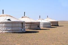 Nomade gers (yurt) d'â de la Mongolie Images stock