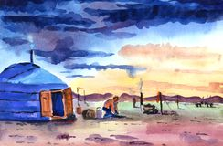 Nomader på semester, mot bakgrunden av aftonhimlen stock illustrationer
