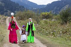 Nomadic people in traditional clothes, Almaty, Kazakhstan. Royalty Free Stock Images
