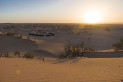 Nomadic's people campsite in the Sahara desert Royalty Free Stock Images
