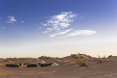 Nomadic's people campsite in the Sahara desert Stock Photo