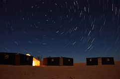Nomadic's people campsite under a startrail Royalty Free Stock Image